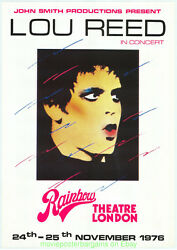 Lou Reed Fan Created Fake Concert Promotional Poster 1976 Rainbow Theatre Uk
