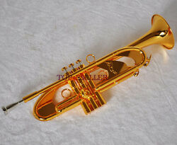 Professional Shiniest Gold Plated Trumpet Heavy Horn Germany Brass With Case