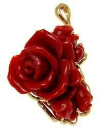 Genuine Natural Red Coral Carved Flower Pendant Enhancer Solid 14k Yellow Gold