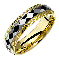 Womens 6mm 14k Yellow White Comfort Fit Engraved Gold Ring Wedding 2tc6-716g-v