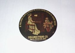 1900 Vollmer Player Piano Graphic Advertising Pocket Mirror With Beveled Mirror