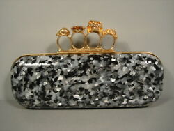 Alexander McQueen Skull Smoke Plexi Knuckle Duster Clutch Evening Bag Purse New