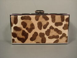 Judith Leiber Leopard Print East West Rectangle Clutch Evening Bag New $3195