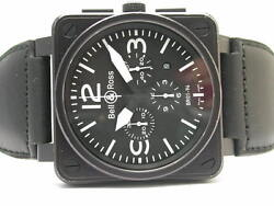 BELL & ROSS BRO194-BL-CARBON CHRONOGRAPH STAINLESS STEEL AUTOMATIC MENS WATCH