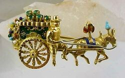 Vintage 18k Gold Emerald And Enamel Man With Fruit And Flower Cart Brooch Pin 750