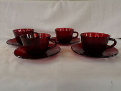 Anchor Hocking Glass Royal Ruby Red Cup And Saucer Set/s Of Four 4