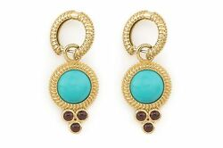Turquoise Garnet Cabochon Gold Charms And Hoops