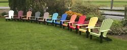 Poly-fanback Adirondack Chair With Black Frame - Various Colors Made In Usa