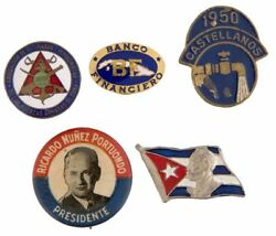 Cuban Cause And Political 1940s Andndash 1950s Lot Of Five Pins And/or Buttons.