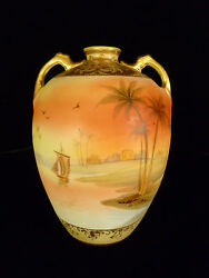 Signed Nippon Middle Eastern Egyptian Hand Painted And Enameled Vase Circa 1900