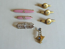 Group /7 Vintage/antique Ladies Lapel Scarf And Bar Pins