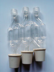 3 Ct. S-shape Airlock With 3 Ct. Buon Vino Stoppers / Bungs - Small