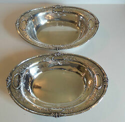 Pair Of Antique Sterling Silver Oval Vegetable Dishes / Bowls Engraved Floral