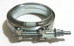 3.5and039and039 Stainless 304 V-band Flange And Clamp Kit Male/female Turbo Exhaust Downpipe