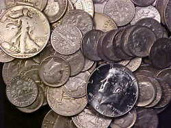 90 Silver - 1/2 Ounce Usa Coins Lot Of Dimes, Quarters And Half Dollars