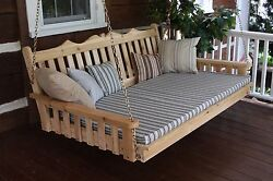 Cedar 4and039 Royal English Garden Porch Swing Bed 8 Stain Colors Oversized Swing