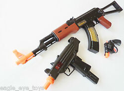 3x toy guns elec ak 47 rifle bayonet toy
