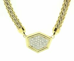 18K Yellow & White Gold Diamond Pendant Style Necklace Made in Italy