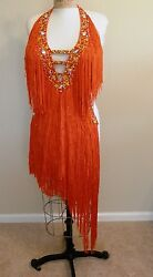 Amazing Fiore Fringed Latin Ballroom Costume with Swarovski Crystals Size 6-10