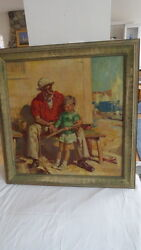 Antique Philip Lyford Painting Of A Wood Carver Or Whittler Listed Illustrator