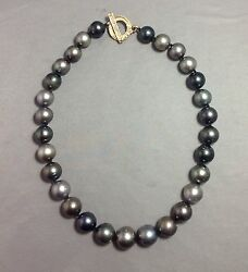NOT QUITE 50 SHADES OF GRAY:13.4-16.25mm STRAND TAHITIAN PEARL NECKLACE 19