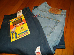 1990's Men's Wrangler Jeans 13mwz And Levi Size 501 36 X 32 Deadstock / Used