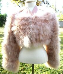 GUCCI   MARABOU  FEATHER  SOLID  BEIGES  COAT   BY  TOM  FORD  SIZE   42W