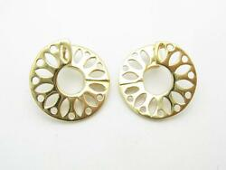 14kt Yellow Gold Diamond Cut Hand Made Unique Disk Cuff One Of A Kind Earrings