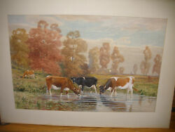 Listed Thomas Bigelow Craig Large Watercolor Painting Of Cows In Landscape