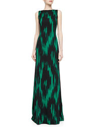 NWT Michael Kors Collection Emerald Green Black Silk Dress Gown 4 IKAT Byzantine