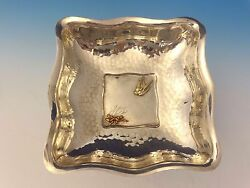 Mixed Metals By Whiting Sterling Bowl Square Applied Bird And Lizard 0052