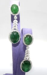 Well Made 34.98 ctw Natural Diamond EMERALD Drop Earrings 18k White Gold 18.01 g