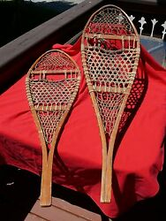 Vintage Tubbs Cross Country Wooden Snowshoes Made In Wallingford Vt 48 X 14