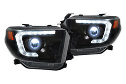 Recon Lighting Projector Headlights W/ Led Drland039s - Smoked 14-15 Toyota Tundra