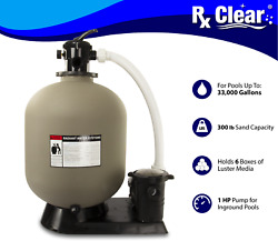 Rx Clear Radiant 24 In-ground Swimming Pool Sand Filter System W/ 1 Hp Pump