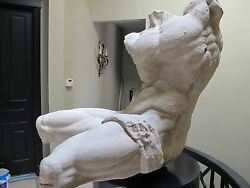 Stone Statue- Life Size Replica Of The Classical Belvedere Torso With Base