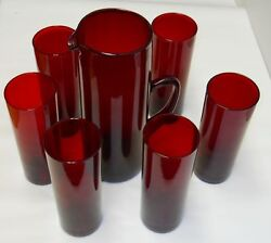 Timo Sarpaneva Ruby Red Glasses, Pitcher 1958 Mouth Blow Iittala Extremely Rare
