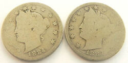 Lot Of 2 Liberty Nickel Coins 1883 1884