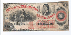 1862 Augusta Insurance And Banking Co Georgia 1 Obsolete Note, Xf Condition