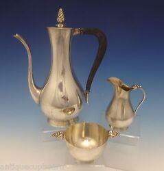 Grape By And Co. Sterling Silver Demitasse Set 3pc Modernistic 0401