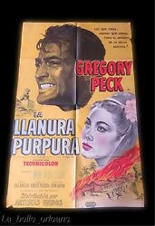 Original 1954 Litho Movie Poster - The Purple Plain - Gregory Peck. Wwii. 1sh