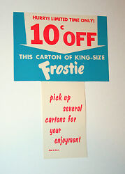 Vtg Rare 1950s Frostie Root Beer Soda Pos Store Display Sign Unused Nos New