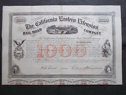 California Eastern Extension Railroad 10 1000- 1859 - Not Cancelled