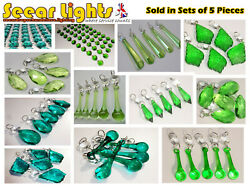 5 Green Chandelier Cut Glass Crystals Drops Prisms Light Droplets Retro Parts