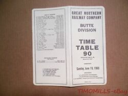 1960 Great Northern Railway Company Employee Timetable 90 Butte Division Gnr Ett