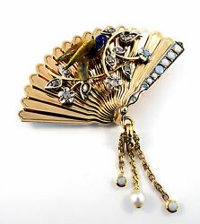 VINTAGE VICTORIAN FAN BROOCH PIN ENAMEL BIRD & DIAMONDS OPALS PEARL 18 KT GOLD