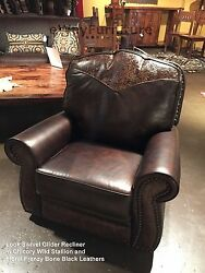 The Look 100 Hand Cut Top Grain Leather Glider Swivel Recliner Made In The Usa