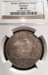 German States Prussia 1818a Taler Coin Thaler Ngc Ms 65 Stg/stg Top Pop Rare Unc