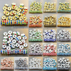 100Pcs Czech Crystal Rhinestone Wavy Rondelle Spacer Beads 4 10mm Gold amp; Silver $4.93