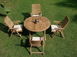"""Ash 5-pc Outdoor Teak Dining Patio Set 48"""" Round Table, 4 Reclining Arm Chairs"""